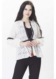 Dantelli İp Detaylı Beyaz Bluz