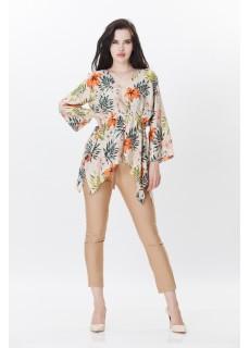 Çiçekli Bluz  - Camel Renkli Dar Paça Pantolon