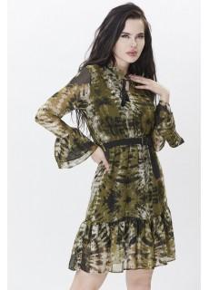 Desenli Haki Yeşili Elbise
