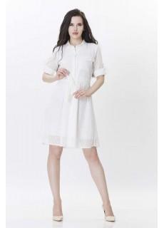 Uzun Kollu Beyaz Elbise