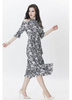 Omuz ve Boyun Detaylı Çiçek Desenli Elbise