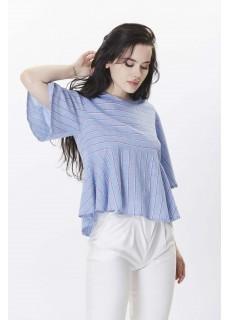 Yarım Kol Mavi Çizgili Gömlek