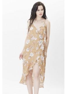 Çiçekli Yandan Bağlamalı Elbise