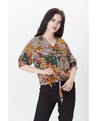 Renkli Desenli Bel Kısmı Bağlamalı Gömlek